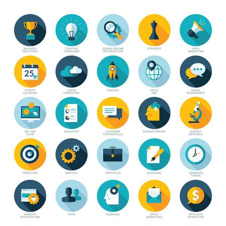 ビジネス、SEO、ソーシャル メディアのマーケティングのためのフラットなデザイン アイコンを設定