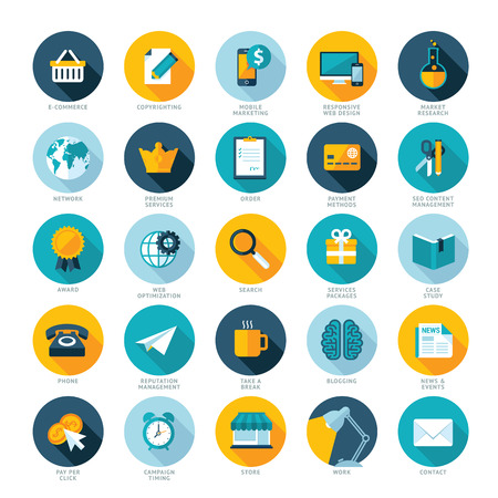 study: Set of flat design icons for E-commerce, Pay per click marketing, Responsive web design, SEO