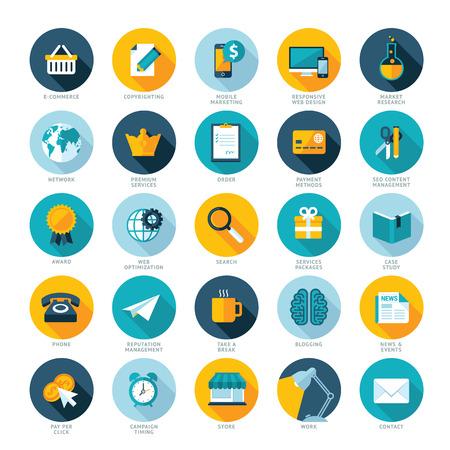 Set van platte design iconen voor e-commerce, Pay-per-click marketing, Responsive web design, SEO