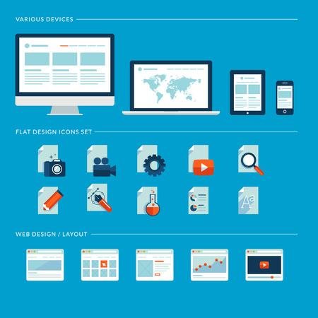 웹, 모바일 서비스 및 애플 리케이션을위한 평면 디자인 아이콘의 집합