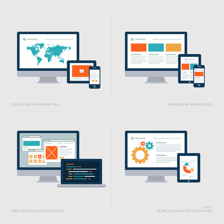 responsive design: Set of flat design concept icons for Social media marketing, Responsive web design, Web design and development, SEO