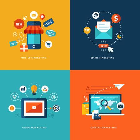 Ensemble d'icônes de concept design plat pour les services Web et téléphonie mobile et des applications