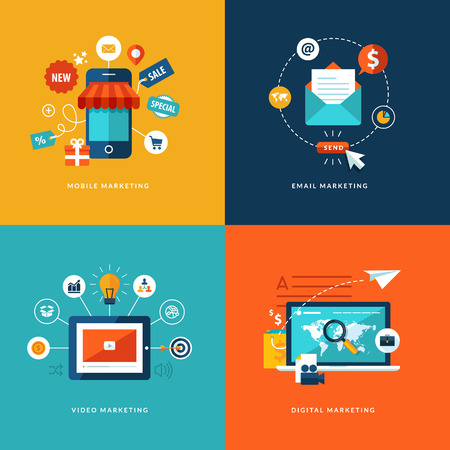 marketing online: Set of flat design concept icons for web and mobile phone services and apps