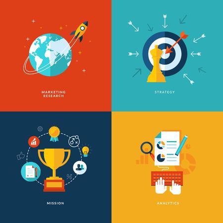 doelstelling: Set van platte design concept pictogrammen voor web en gsm-diensten en apps Stock Illustratie