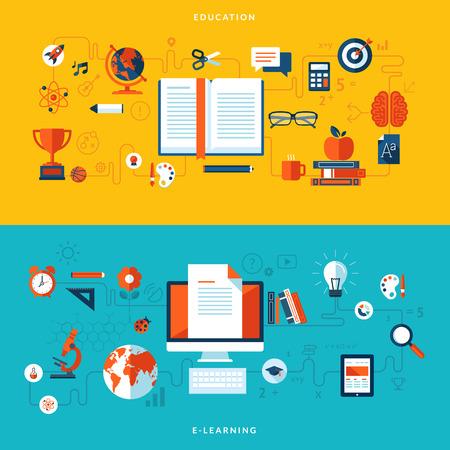 educaci�n en l�nea: Conceptos de dise�o Flat ilustraci�n de la ense�anza y el aprendizaje en l�nea