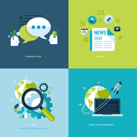 Ensemble de graphismes plats concept de conception pour le web et le mobile et icônes des applications pour consultation, nouvelles, référencement, développement web Banque d'images - 26034114