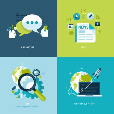 Zestaw płaskich ikon projektu Koncepcja sieci i usług telefonii komórkowej i ikon aplikacji konsultacji, wiadomości, pozycjonowanie, tworzenie stron internetowych Ilustracje wektorowe