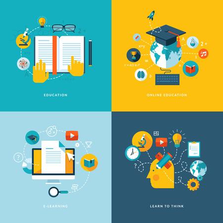 edukacja: Zestaw płaska koncepcji ikonami internetowych i telefonów komórkowych usług i aplikacji