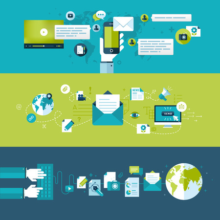 redes de mercadeo: Conjunto de conceptos de diseño plano ilustración para el correo electrónico Vectores