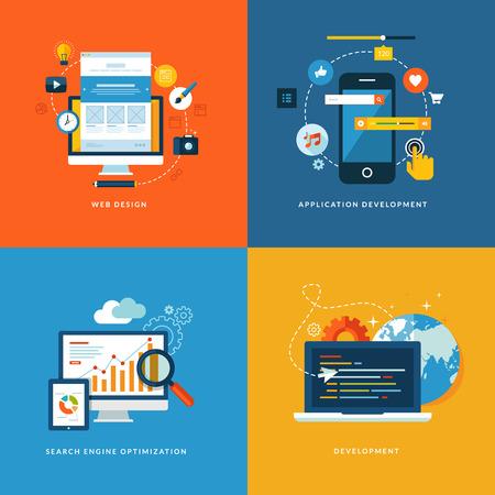웹 및 모바일 서비스를위한 평면 설계 개념 아이콘을 설정하고, 웹 디자인, 응용 프로그램 개발, 검색 엔진 최적화 및 웹 개발을위한 아이콘을 애플 리