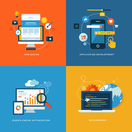Web 用のフラットなデザイン コンセプト アイコンおよび web デザイン、アプリケーション開発、seo、ウェブ開発のためのモバイル サービスとアプリ