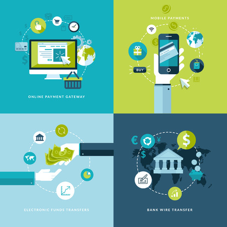 e money: Flat design vector illustration concepts of online payment methods   Icons for online payment gataway, mobile payments, electronic funds transfers and bank wire transfer      Illustration
