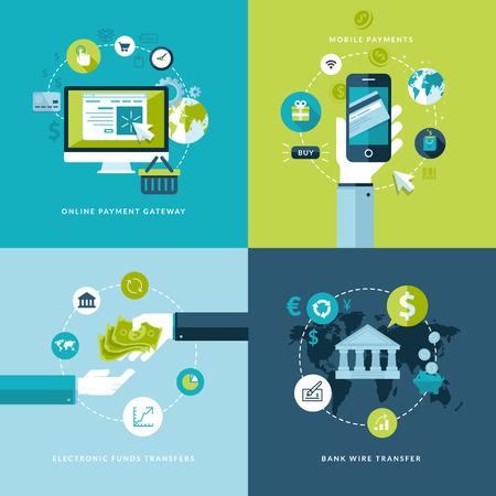Platte ontwerp vector illustratie concepten van online betaalmethodes Pictogrammen voor online betaling gataway, mobiele betalingen, elektronisch betalingsverkeer en bank overschrijving Stock Illustratie