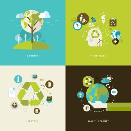 think green: Conjunto de iconos de concepto de dise�o plano para la web y los servicios m�viles y aplicaciones Los iconos de la ecolog�a, piense el verde, reciclar y ahorrar el planeta Vectores