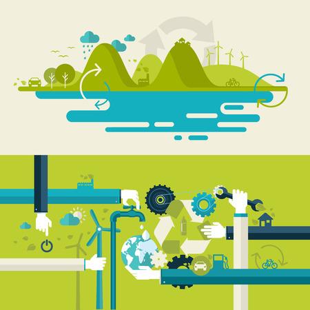 웹 배너 및 인쇄 재료의 생태, 재활용 및 녹색 기술 개념에 대 한 평면 디자인 벡터 일러스트 레이 션 개념의 설정