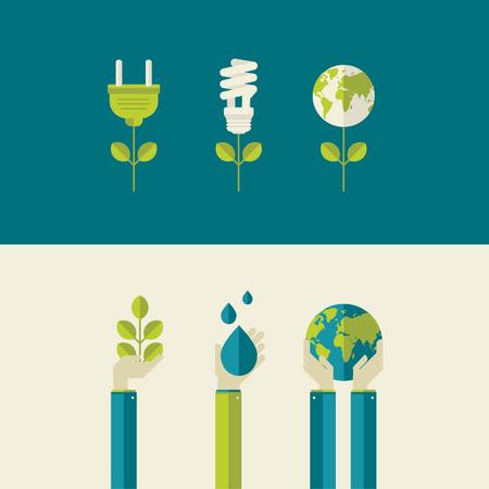 risparmio energetico: Set di illustrazione vettoriale design piatto concetti di energia verde e salvare i concetti pianeta, l'acqua e la natura per banner web e materiali stampati