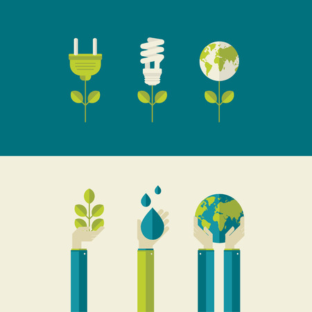Set van platte ontwerp vector illustratie concepten voor groene energie en de planeet te redden, water en natuur concepten voor web banners en drukwerk