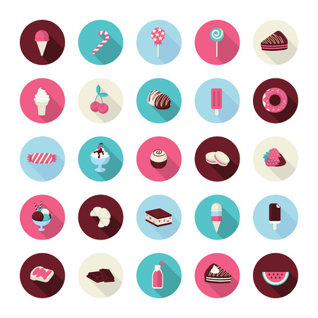 Set of flat design dessert icons  Icons of cakes, pastry, sweet bakery, cupcake, ice cream, fruits, candies, chocolate, juice and lollipops for restaurants, caf�s, confectionery, pastry shop, cake manufacturer, online shop, events      Ilustracja