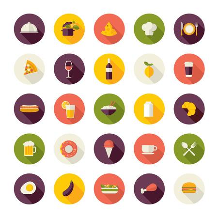 gıda: Restoran, yiyecek ve içecek için düz tasarım simgeleri ayarlayın Çizim