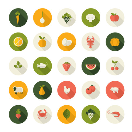comida: Conjunto de iconos del diseño de piso en alimentos y bebidas