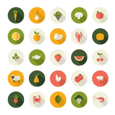 pecora: Set di icone del design piatto di cibo e bevande