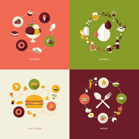 平らな設計コンセプトのためのアイコン レストラン、食べ物と飲み物のアイコン、デザート、飲み物、ファーストフード、メニューの設定します。