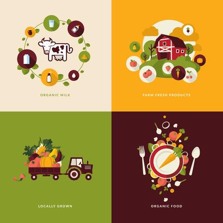 一連のフラット デザイン コンセプト有機食品のアイコンおよび有機牛乳、新鮮な農産、ローカルで栽培、有機食品のためのアイコンを飲む