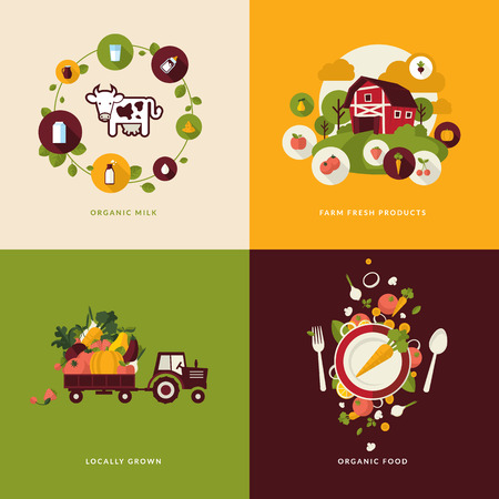 business products: Set of flat design concept icons for organic food and drink  Icons for organic milk, farm  fresh products, locally grown and organic  food