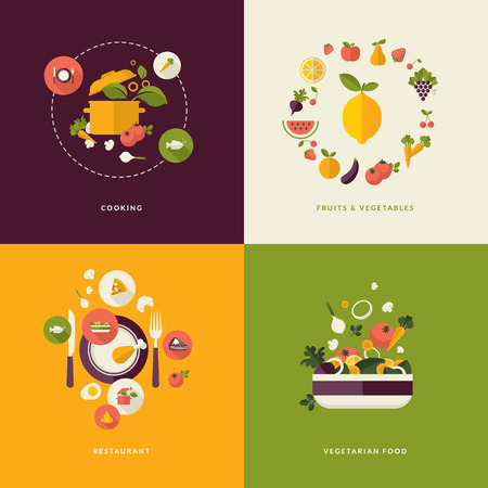 Set of flat design concept icons for food and restaurant  Icons for cooking, fruits and vegetables, restaurant and vegetarian food      Ilustracja