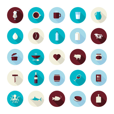 cuttlefish: Set of modern flat design icons for food and drink  Icons for coffee, milk, meat, wine, seafood, restaurant and food producer