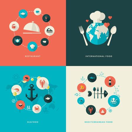 Conjunto de iconos del concepto de diseño de piso en los iconos de restaurante para restaurante, comida internacional, mariscos, comida mediterránea Ilustración de vector