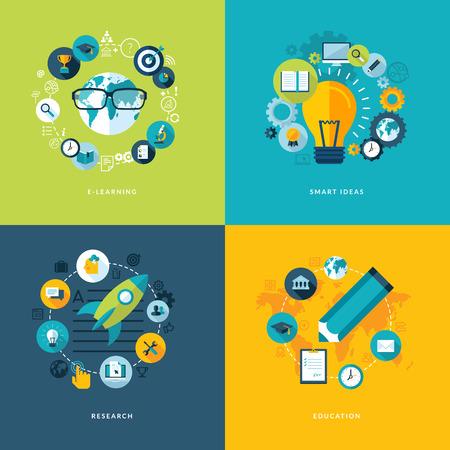 Conjunto de iconos de concepto de diseño piso en iconos de la educación para el aprendizaje en línea, ideas inteligentes, la investigación y la educación