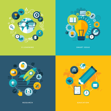 onderzoek: Set van platte design concept pictogrammen voor het onderwijs Pictogrammen voor online leren, slimme ideeën, onderzoek en onderwijs Stock Illustratie