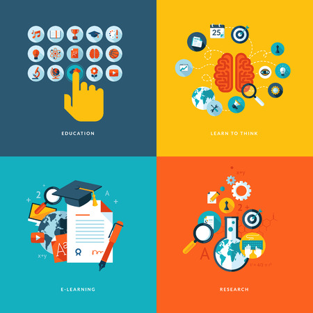 Sada plochých designový koncept ikony pro web a mobilní telefonní služby a aplikace ikony pro vzdělávání, naučit se myslet, on-line vzdělávání a výzkum Ilustrace
