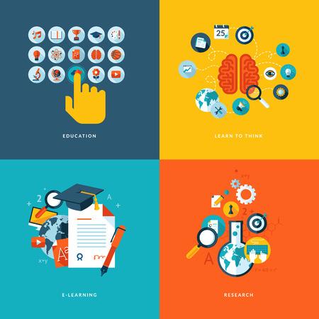 investigaci�n: Set de iconos de concepto de dise�o planas para los servicios web y de telefon�a m�vil y de aplicaciones iconos de la educaci�n, aprender a pensar, el aprendizaje en l�nea y la investigaci�n