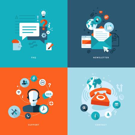computer support: Set di piatti concetto di progettazione icone per i servizi web e la telefonia mobile e apps icone per faq, newsletter, supporto, contattare