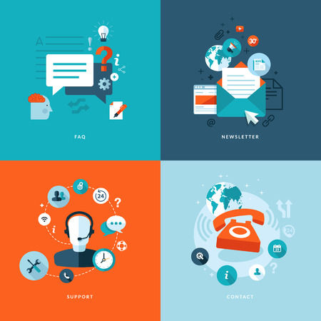 Set of flat design concept icons for web and mobile phone services and apps  Icons for faq, newsletter, support, contact