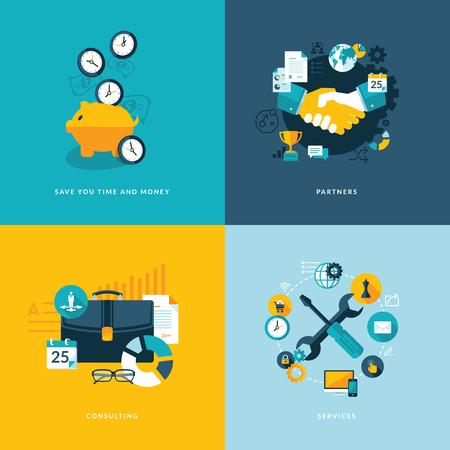 조직: 비즈니스 시간과 비용을 절약을위한 아이콘, 파트너, 컨설팅 및 서비스를위한 평면 설계 개념 아이콘의 세트