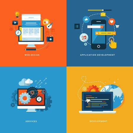 web technology: Set di piatti concetto di progettazione icone per i servizi web e di telefonia mobile e applicazioni Icone per il web design, sviluppo di applicazioni, servizi e programmazione Vettoriali