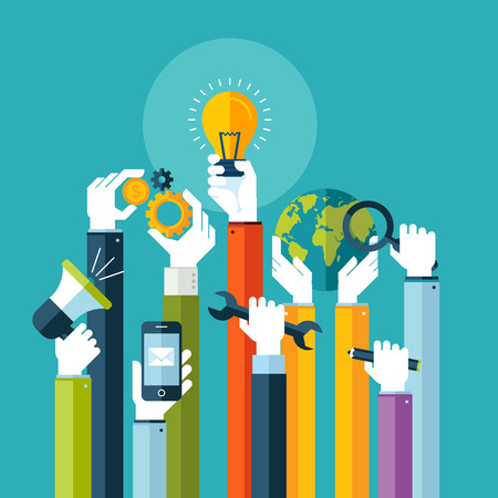 onderzoek: Platte ontwerp illustratie concept voor online diensten Concepts voor web banners en drukwerk