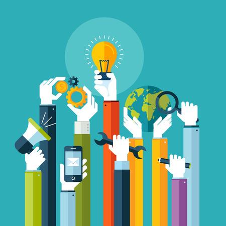 kavram ve fikirleri: Web afiş ve basılı malzemeler için çevrimiçi hizmetler Kavramları için düz tasarım illüstrasyon kavramı Çizim