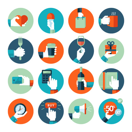 Flat design icons collection of hand using a variety of products  Hand giving heart, using food and drink, in business situations, in shopping, reading  Icons for web and mobile services and apps     Illustration