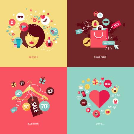美容のためのフラットなデザイン コンセプト アイコンと美容、ショッピング、ファッションとの愛の概念のためのショッピングのアイコンのセット