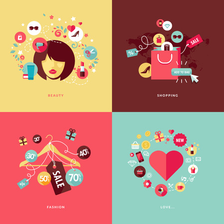 moda: Set di concept design piatto icone di bellezza e centri commerciali Icone per la bellezza, lo shopping, la moda e il concetto di amore