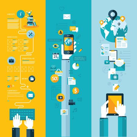 web technology: Set di illustrazione vettoriale design piatto concetti di layout sito web, servizi e applicazioni di telefonia mobile e servizi di tablet computer e apps Concetti per banner web e materiali stampati