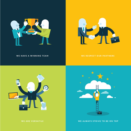 Set of flat design concept icons for business  Icons for winning team, partners, versatility and company objectives