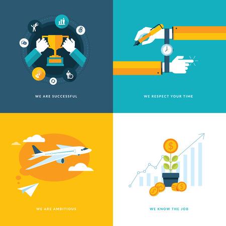 Conjunto de iconos de concepto de diseño plano para iconos de negocios para el éxito, ambicioso, respetar su tiempo, y la experiencia y profesionalidad en el trabajo