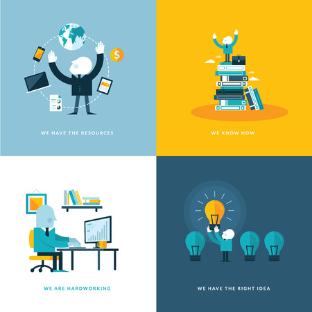 Set of flat design concept icons for business  Icons for company resources, know how, hardworking, and creativity