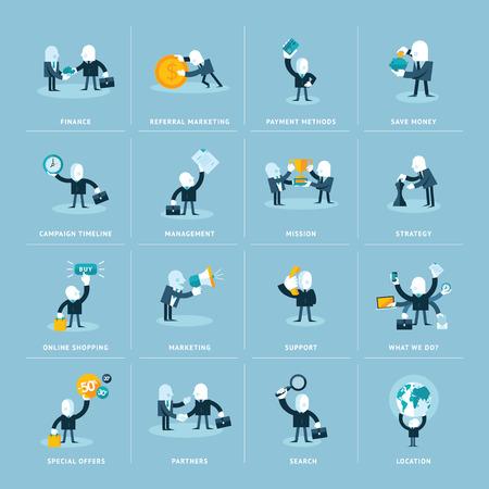 mision: Conjunto de iconos del dise�o de piso en negocios, finanzas, marketing y comercio electr�nico