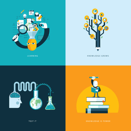 Set of flat design concept icons for web and mobile phone services and apps  Icons for learning, knowledge grows, test it, knowledge is power     Vector
